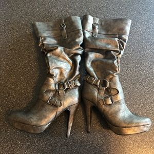 G by guess high heeled wide calf boot. Never worn